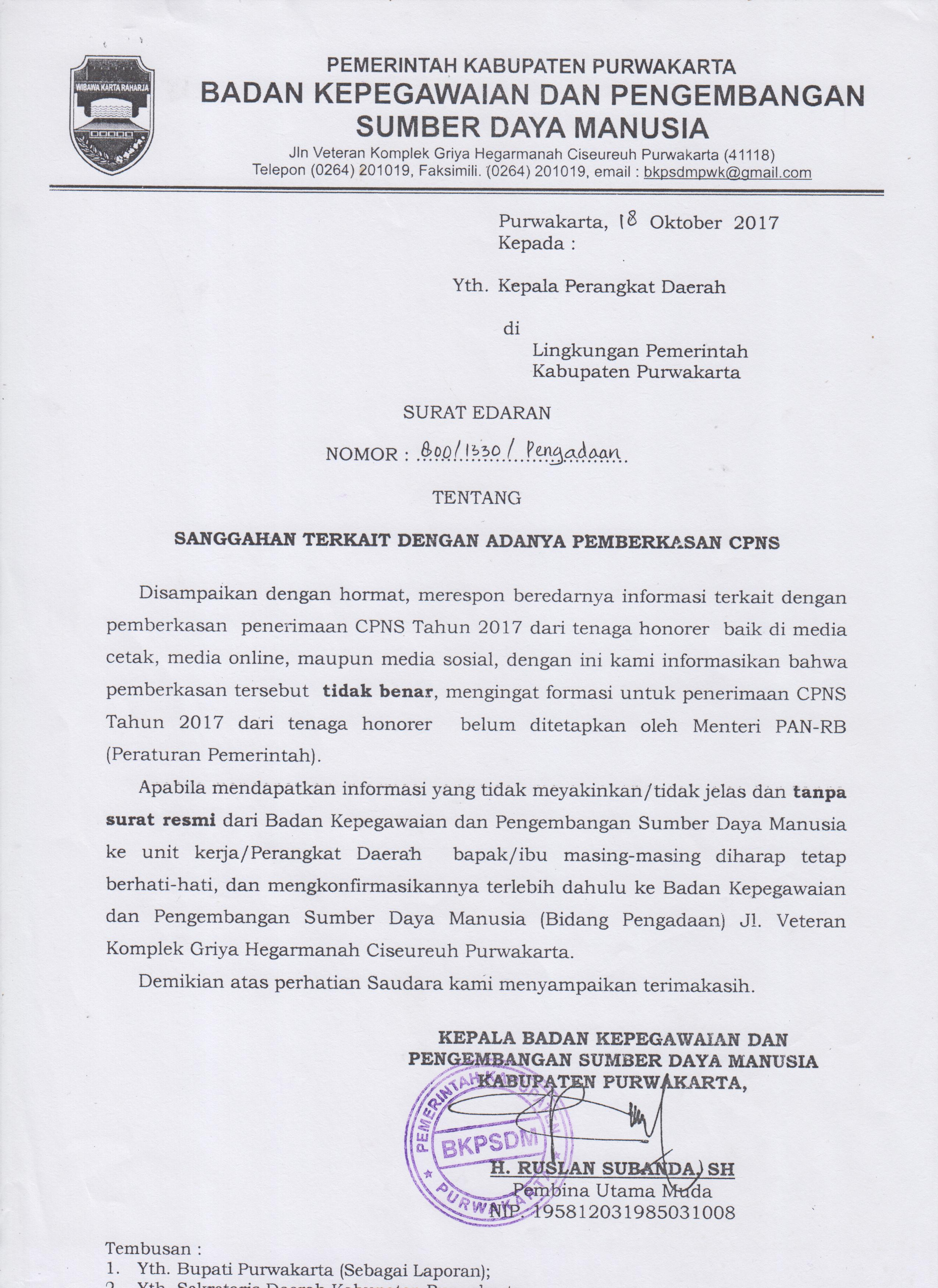 Sanggahan Terkait Dengan Adanya Permberkasan Cpns Kabupaten Purwakarta