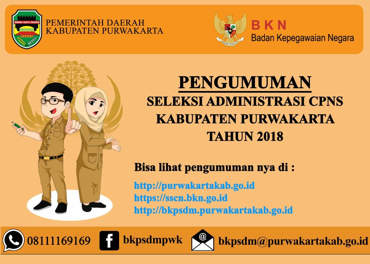 Pengumuman Seleksi Administrasi Cpns Kabupaten Purwakarta Tahun 2018