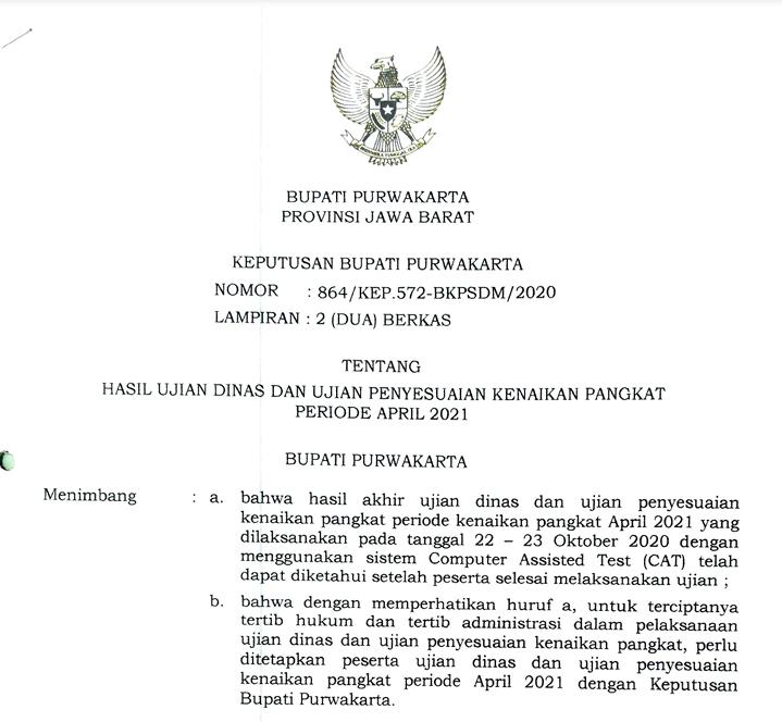 Hasil Akhir Ujian Dinas Dan Ujian Penyesuaian Kenaikan Pangkat Periode April 2021
